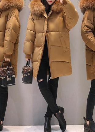 Куртка зимняя оверсайз коричневый цвет