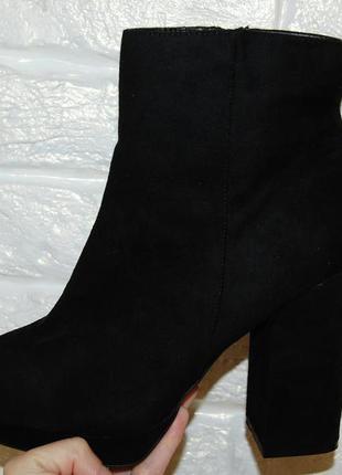 Ботинки черные толстый каблук new look 40 р-р.стелька 26 см