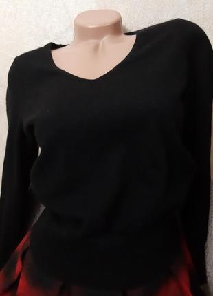 Базовый черный джемпер, пуловер, 100% кашемир, р.s