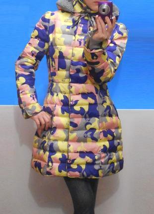 Стильная молодежная куртка камуфляж милитари пуховик пальто теплая с капюшоном