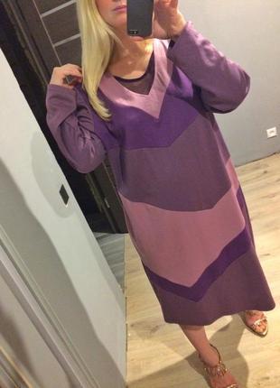 Плотное лавандовое платье батал р.60