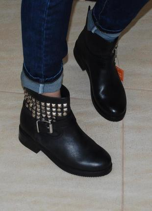 Ботинки кожа кожаные черные zign 37-38 р-р 24.2 см стелька