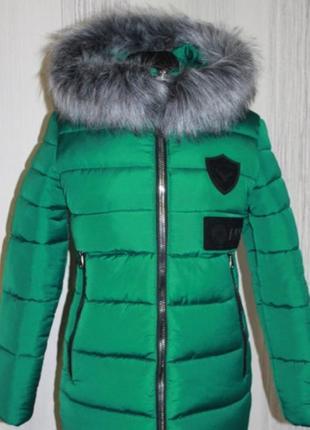 Пуховик куртка  зеленая бу