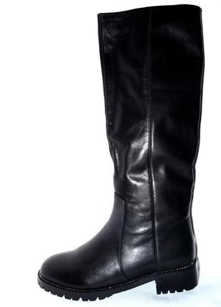 Новые сапоги женские зимние черные кожаные molared, натуральный мех цегейка