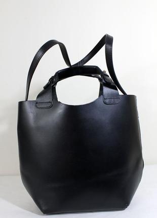 Большая сумка шоппер из натуральной кожи zara