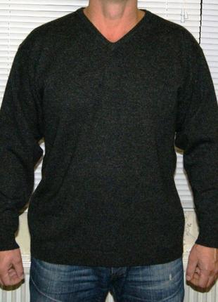 Пуловер серо-черный 100% шерсть
