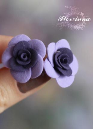 """Серьги гвоздики """"фиолетовые розы"""""""