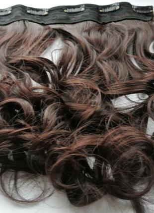 11-4 накладные волосы на заколках затылочная прядь темно-коричневый№2/33 длина 44 см