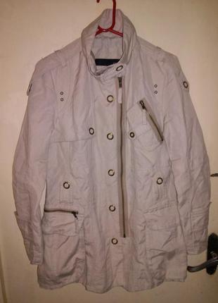 Натуральная-лён-коттон,классная куртка с подкладкой,погончиками и карманами,next