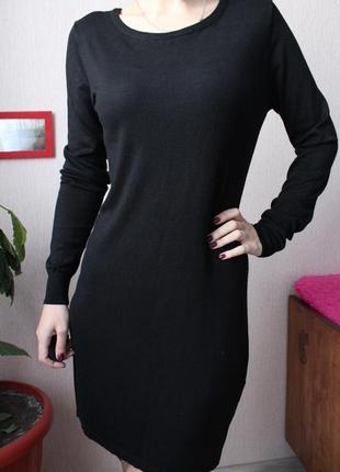 Черное теплое трикотажное платье 36 - 38 размер с м blue motion платье миди