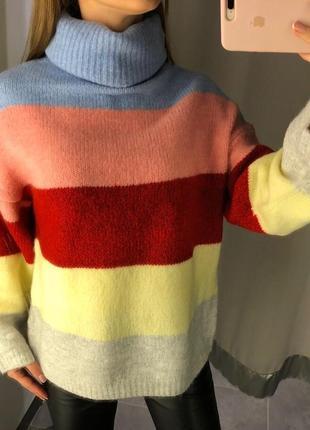 Тёплый свитер в полоску amisu полосатый свитер под горло есть размеры