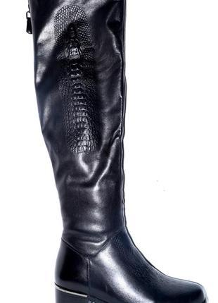Новые сапоги-ботфорды женские зимние кожаные posiot, натуральный мех цегейка