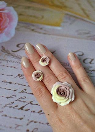 Набор кольцо и серьги роза цвет капучино с ванилью