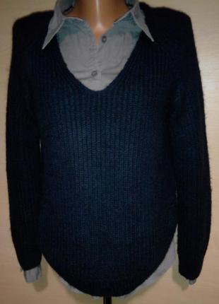 Свитер пуловер вязанный в рубчик базовый h&m