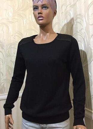 Джемпер со стегаными вставками - 100% тончайшая мериносовая шерсть, tahari (usa),размер l