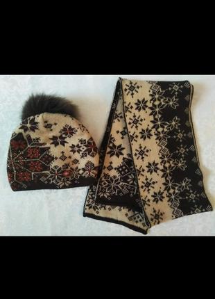 Теплая шапочка и шарф