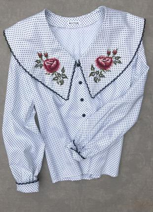 """Блуза с вышивкой, вышиванка """"античная роза"""" вышитая блузка, нарядная блуза"""