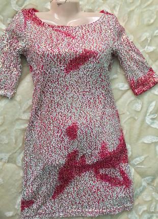 Вечерниее новое новогоднее нарядное мини короткое платье из италии