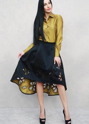 """Нарядный женский костюм """"черный с золотом - ришелье"""" блуза с юбкой, вышитый костюм"""