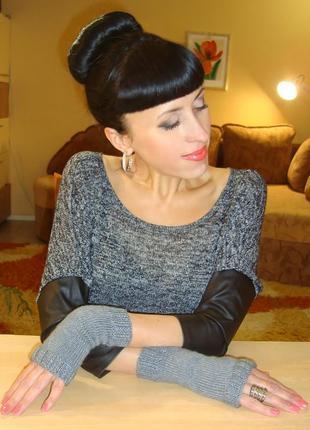 Митенки - перчатки без пальцев - royal grey
