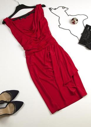 Элегантное красное платье с драпировкой и юбкой на запах новый год корпоратив oasis m l
