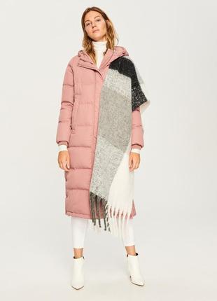 Зимнее пальто пудровый пуховик натуральный