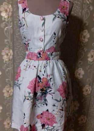 Льняное романтичное платье