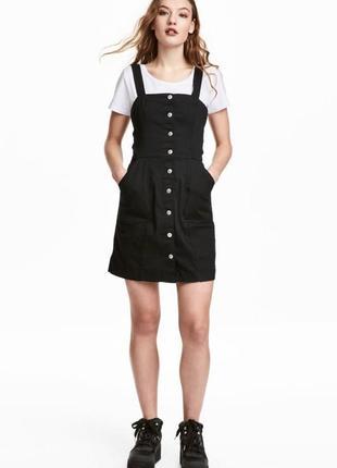 Черное denim платье-сарафан h&m