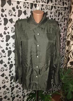 Шикарная объемная рубашка с принтом из шелка