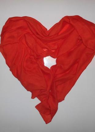 Шарф тонкий шарфик осенний весенний женский оранжевый оранж шейный платок на шею