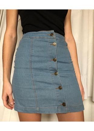 Тканевая джинсовая юбка на высокой талии