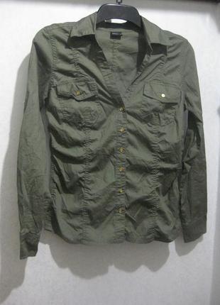 Рубашка laura scott хаки милитари оливковая зелёная коттон хлопок