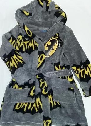 Халат пушистый флис batman на 1-2 года primark