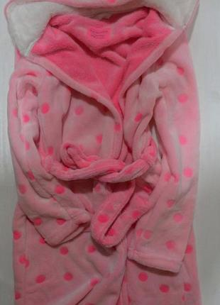 Халат пушистый флис neon pink на 10-15 лет yd primark