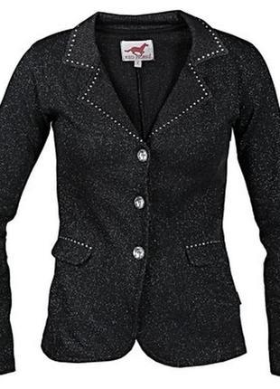 🍭шикарный нарядный трикотажный пиджак с люрексом и стразами  red horse🍭