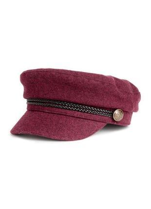 Кеппи кепи кепка h&m цвета бургунди шерсть