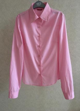 Розовая приталенная рубашка guess