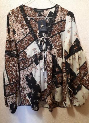 Новая шифоновая блуза со шнуровкой и черным кружевом принт в стиле печворк