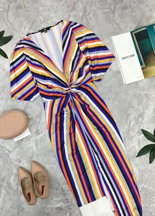 Оригинальное платье в яркую полоску с драпировкой  dr1849012 missguided