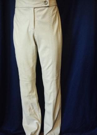 Обалденные масляные кожаные штаны высокая посадка италия кремовые слоновая кость 100%кожа