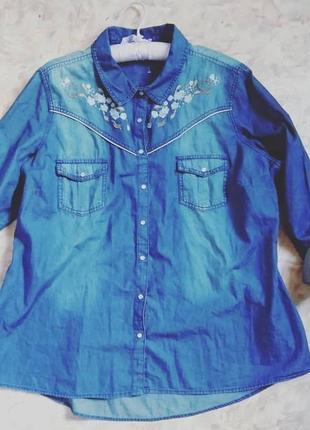 Рубашка джинсовая plus size george с вышивкой