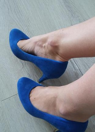 Туфли синие. туфли на каблуке искусственная замша.
