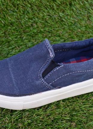 Детские спортивные туфли кеды слипоны мокасины темно синие