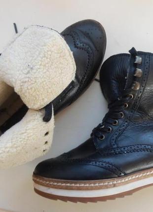 Кожаные зимние ботинки 37р bianco