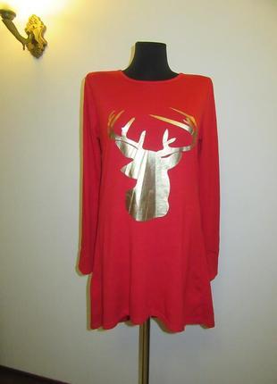 Новое коттоновое новогоднее платье-свитер с италия пройдет на л