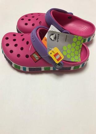 Тапочки  сабо детские crocs кроксы lego original fuchsia  с 23-30 размер 4 цвета.