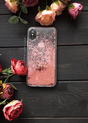Мега крутой чехол с пересыпающими блестками на айфон iphone x / xs розовый