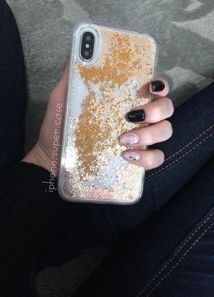 Красивый чехол с пересыпающими блестками на айфон iphone x / xs