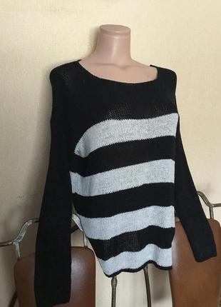 Фирменный свитер кофта джемпер реглан в полоску от amisu р. с-ххс