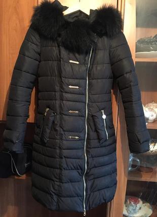 Пуховик пальто пуховое зима куртка тинсулейт. воротник натуральный мех
